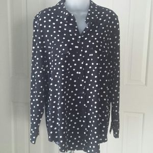 Chico's size 2 black with white polka dot top
